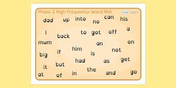 Phase 2 High Frequency Word Mat Dyslexia - phase 2 high frequency words, phase 2 hfw mat, phase 2 high frequency words in dyslexia font, dyslexia word mat