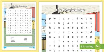 Days of the Week Word Search German - Days of the Week, German