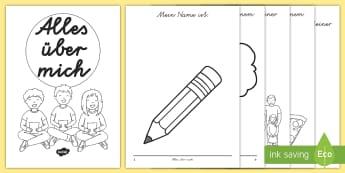 Alles über mich Mini-Buch- - neues Schuljahr, erster Schultag, neuer Schüler, kennenlernen, willkommen, willkommen heißen,Germa