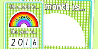 Month and Year Rainbow Poster Te Reo Māori - māori months