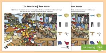 Auf dem Basar Arbeitsblatt: Lesen und Malen - Sommer, Jahreszeit, Urlaub, Basar, Reimwörter, verbinden, Deutsch, Kl.1/2, summer, seasons, bazar,
