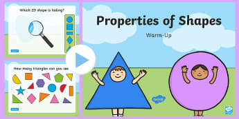 Properties of 2D and 3D Shapes Warm-Up PowerPoint - shape, properties of shape, 2d, 3d, maths, geometry, warm-up, warm up, warm-ups, warm ups, plen