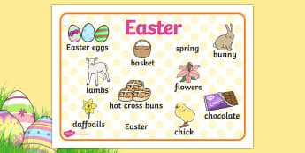 Easter Word Mat - Easter, word mat, writing aid, Easter teaching resource, Easter Jesus, Easter Sunday, Easter, bible, egg, Jesus, cross, Easter Sunday, bunny, chocolate, hot cross buns