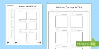 Multiplying Fractions by Tiling (2) Activity Sheet - multiplication, fractions, tiling, grids, 5th grade, worksheet