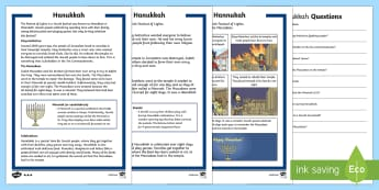 KS1 Hanukkah Differentiated Reading Comprehension Activity - Hannukah, 24th Dec, Judaism, festival of light, menorah, Jerusalem, Judah Maccabee, Maccabees, broth