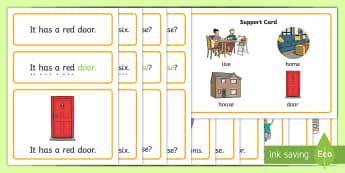 Houses and Homes Simple Sentence Cards - reading, sentences, eyfs, word cards, decoding, tricky words, sound button, phoneme, grapheme, phoni