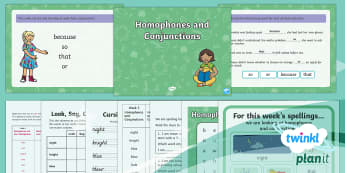 PlanIt English Y2 Term 3B W3: Homophones and Conjunctions Spelling Pack - Spellings Year 2, Term 3B, W3, homophones, conjunctions, joining words, coordination, subordination,