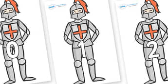 Numbers 0-31 on Knights - 0-31, foundation stage numeracy, Number recognition, Number flashcards, counting, number frieze, Display numbers, number posters