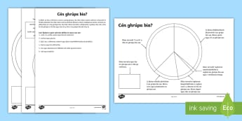 Finding the Food Group Activity Sheet Gaeilge - Food groups, food, healthy eating, unhealthy food, bia, sláintiúil, míshláintiúil, ag ithe.,Iri