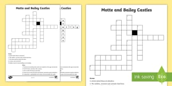 Motte and Bailey Castles Crossword - normans, motte and bailey castle, medieval, history, SESE, crossword, middle ages,Irish
