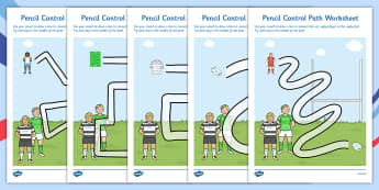 Rugby Pencil Control Path Worksheets - rugby, pencil, control, path
