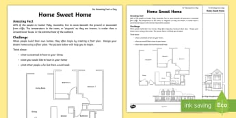 Home Sweet Home Activity Sheet - homes, different homes, coober peedy, floor plan, home design, amazing fact august, worksheet
