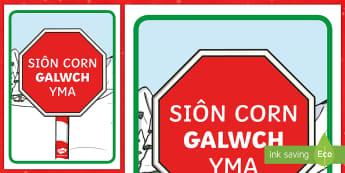 Poster Siôn Corn Galwch Yma! - Christmas Wales - Welsh Medium,Welsh, santa, sion corn, welsh, cymraeg