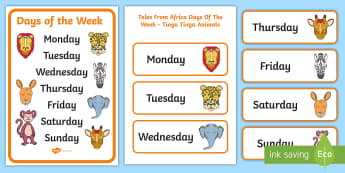 Tales from Africa Days of the Week Display Posters - days of the week, tales from Africa, Tinga Tinga, posters, classroom display,