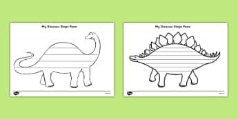 Dinosaur Shape Poetry - dinosaurs, poem, poetry, poems, rhymes
