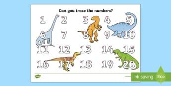 Dinosaur Themed Number Formation 1 - 20 Activity Sheet - number formation, kindy, kindergarten, year 1, number 1-20, dinosaur themed, Australia, overwriting