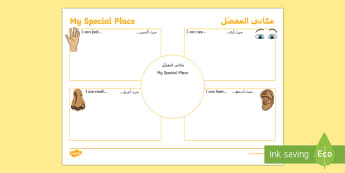 Where I Live Using Senses Activity Sheet Arabic/English  - Australian Curriculum HASS, places, geography, natural, locations, change, cared for, familiar featu