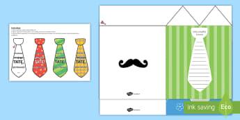 Kartka Dzień Ojca Koszula z krawatem - krawat, koszula, ojciec, tata, tatuś, rodzina, czerwiec, dzień, ojca, taty, laurka, szablon, życz