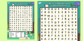 Alice in Wonderland Wordsearch - alice in wonderland, word search, wordsearch, alice in wonderland wordsearch, alice in wonderland activity, word game