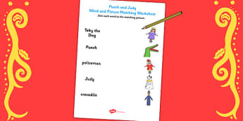 Punch and Judy Word and Picture Match - word, picture, match