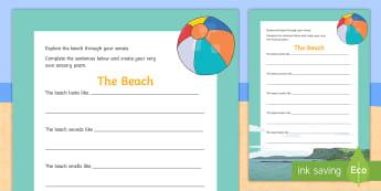 The Beach Sensory Poem Activity Sheet - ROI Summer Resources, the beach, seaside, poetry, poem, sensory, senses, worksheet, Irish