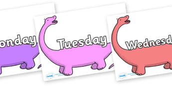Days of the Week on Apatosaurus to Support Teaching on Harry and the Bucketful of Dinosaurs - Days of the Week, Weeks poster, week, display, poster, frieze, Days, Day, Monday, Tuesday, Wednesday, Thursday, Friday, Saturday, Sunday