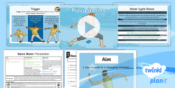 PlanIt PE Year 4 Dance: Water Lesson 5 - Precipitation - physical education, exercise, Y4, year 4, LKS2, key stage 2, planning, plans, powerpoint, unison, ca