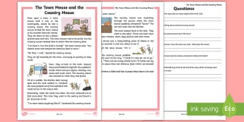 The Town Mouse and the Country Mouse Differentiated Reading Comprehension Activity - KS1 Comprehensions, aesop's fable, moral, fable, KS1, key stage 1, key stage 1, year 1, year one, y