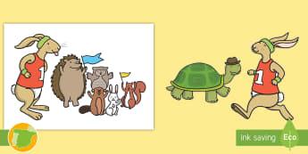Marionetas de palo: La liebre y la tortuga - cuento, infantil, moraleja, liebre, tortuga, fábula, fabula, animales,marioneta, juguete, juego, ju