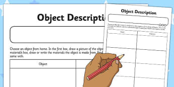 Object Description Activity Sheet - object, description, activity, sheet, worksheet