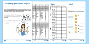 UKS2 The Mystery of the Pilfered Penguins Maths Game - murder mystery, emoji, conversion, pints, percentages, problem