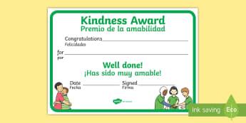 Kindness Award Certificate English/Spanish - Kindness Award Certificate - kindness award certificates, reward, award, certificate, rewards, schoo