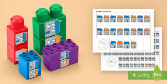 Number Street to 10 Connecting Bricks Game - EYFS, Early Years, KS1, Connecting Bricks Resources, duplo, lego, plastic bricks, building bricks, M