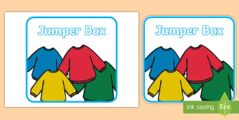 Jumper Box Labels -  Clothing, Classroom, missing clothes, lost property, organisation