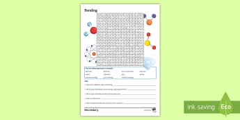 Bonding Word Search - KS4, Chemistry, keywords, Science, covalent bonding, ions, polymers