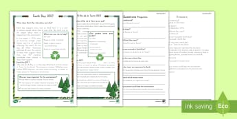 Earth Day Differentiated Reading Comprehension Activity US English/Spanish (Latin) - KS1, Earth Day, Environment, Pollution, Trees, Deforestation, Earth, Planet, Animals, Habitat, Carbo