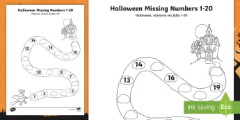 Halloween Spooky House Missing Numbers to 20 Activity Sheet English/Portuguese - Halloween, spooky, ghosts, witch, , worksheet, activity sheet, eal
