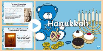 All About Hanukkah PowerPoint English/Italian  - Hanukkah Information Powerpoint - powerpoint, power point, interactive, powerpoint presentation, pre