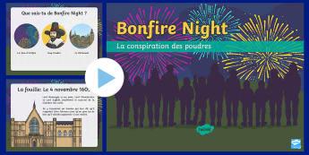 PowerPoint d'information : Tout savoir sur Bonfire Night - Anglais, Langue Vivante, Histoire, Culture, Guy Fawkes, 5 novembre, feu d'artifice, Cycle 3