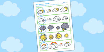 Weather Themed Size Matching Worksheet - size order, ordering