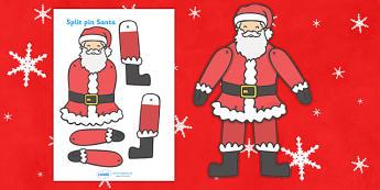 Split Pin (Santa) -  santa, father christmas, split pin, activity, christmas, xmas, dancing, moving, puppets
