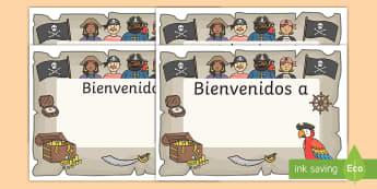 Cartel: Bienvenidos - Piratas - cartel, bienvenida, bienvenido, bienvenidos, pirata, piratas, fantasía, decorar, decoración, expon