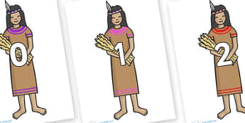 Numbers 0-100 on American Indian - 0-100, foundation stage numeracy, Number recognition, Number flashcards, counting, number frieze, Display numbers, number posters