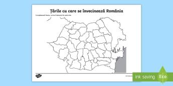 Vecinii României Fișă de lucru - România, geografie, geografia, limite, vecini, țara, țară, graniță, hartă mută, Ucraina, Rep