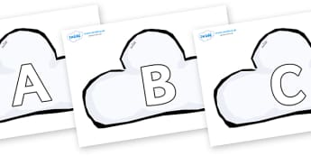 A-Z Alphabet on Weather Symbols (Cloud) - A-Z, A4, display, Alphabet frieze, Display letters, Letter posters, A-Z letters, Alphabet flashcards