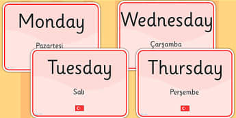 Days of the Week Signs EAL Turkish Version - language, display