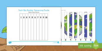 Earth Day 1-10 Number Sequencing Puzzle - Earth Day, sequencing numbers 1-10, number order, number recognition, Earth, Pre-K math, Kindergarte
