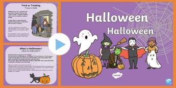 All About Halloween PowerPoint English/Spanish - KS1, EAL,halloween, pumpkin, October, celebration, festival, information