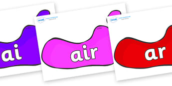 Phase 3 Phonemes on Footprints - Phonemes, phoneme, Phase 3, Phase three, Foundation, Literacy, Letters and Sounds, DfES, display