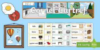 Cornel Cartref Pecyn Chwarae Rôl  - cornel cartref, cegin, ystafell wely, ystafell fyw, lolfa, ystafell ymolchi, ystafell haul, ystafell